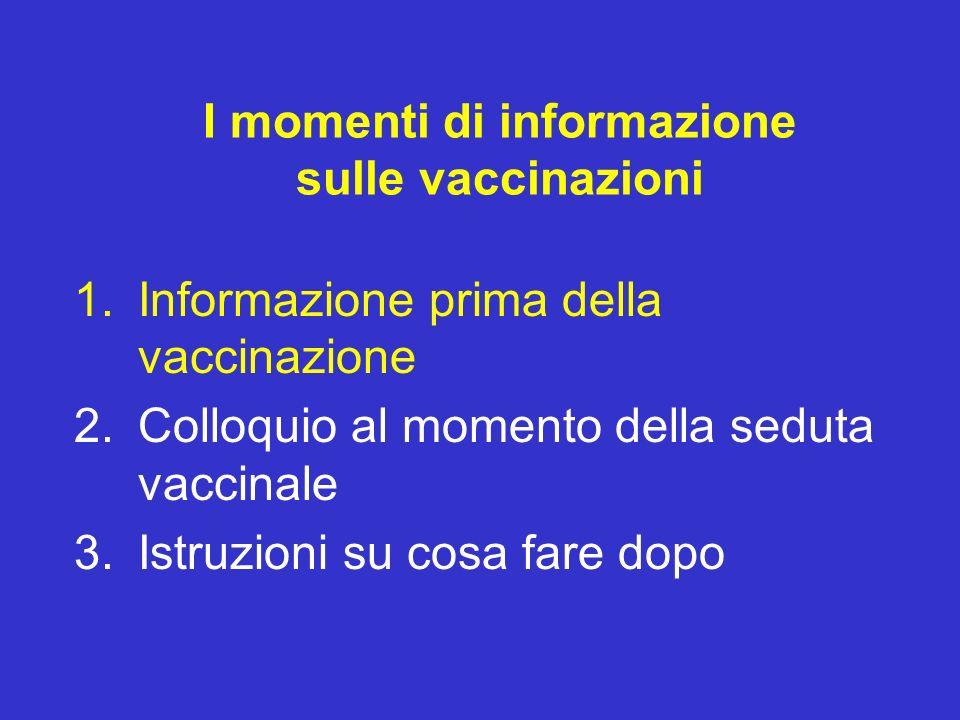 I momenti di informazione sulle vaccinazioni