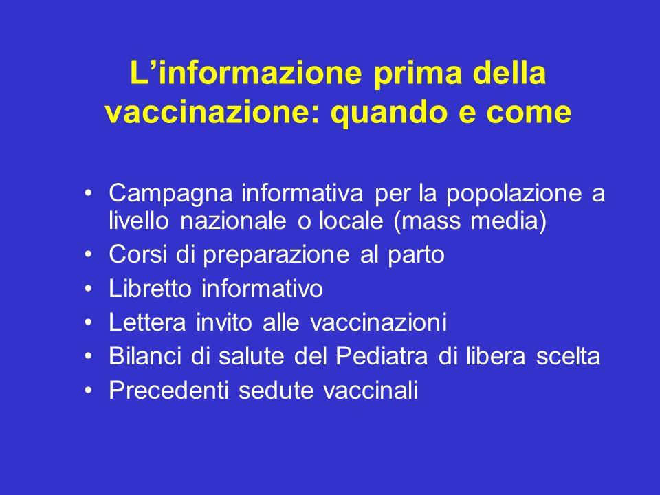 L'informazione prima della vaccinazione: quando e come