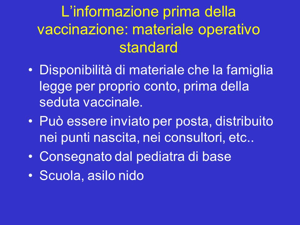 L'informazione prima della vaccinazione: materiale operativo standard