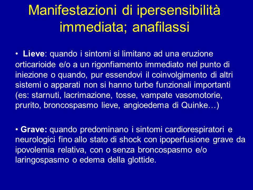 Manifestazioni di ipersensibilità immediata; anafilassi