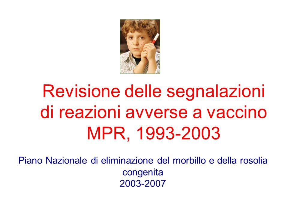 Revisione delle segnalazioni di reazioni avverse a vaccino MPR, 1993-2003