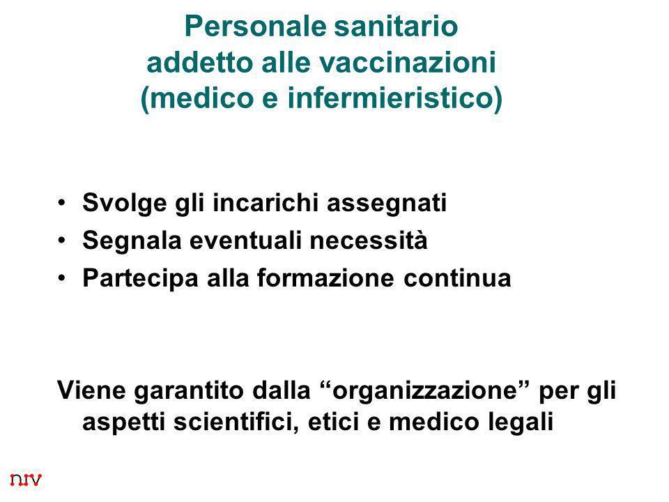 Personale sanitario addetto alle vaccinazioni (medico e infermieristico)