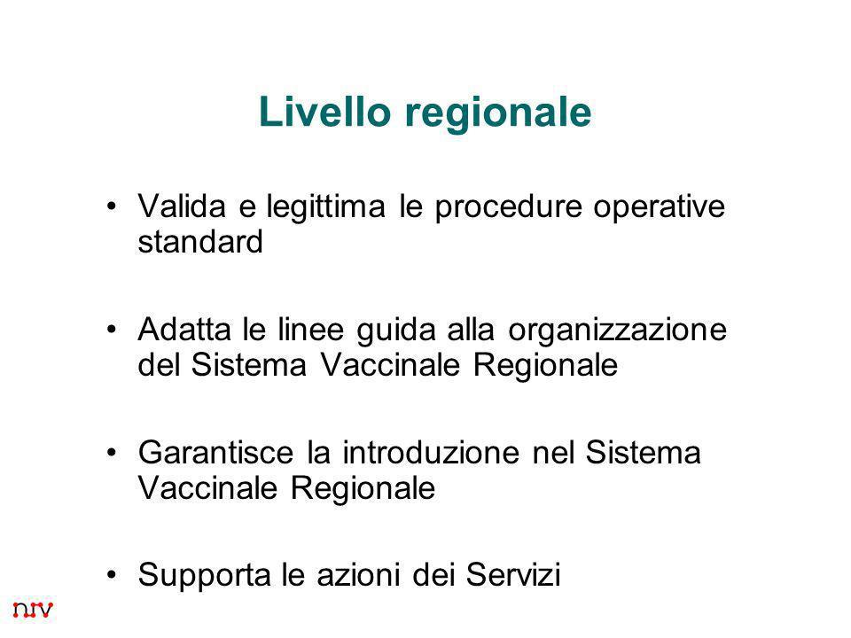 Livello regionale Valida e legittima le procedure operative standard