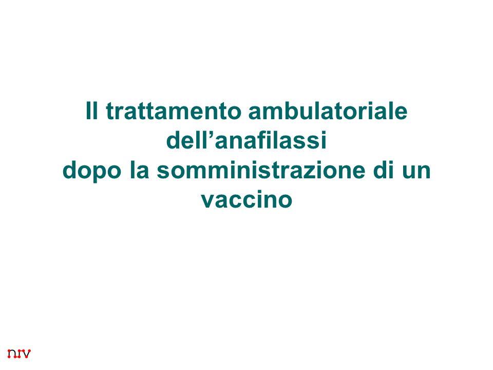 Il trattamento ambulatoriale dell'anafilassi dopo la somministrazione di un vaccino