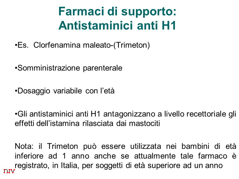 Farmaci di supporto: Antistaminici anti H1