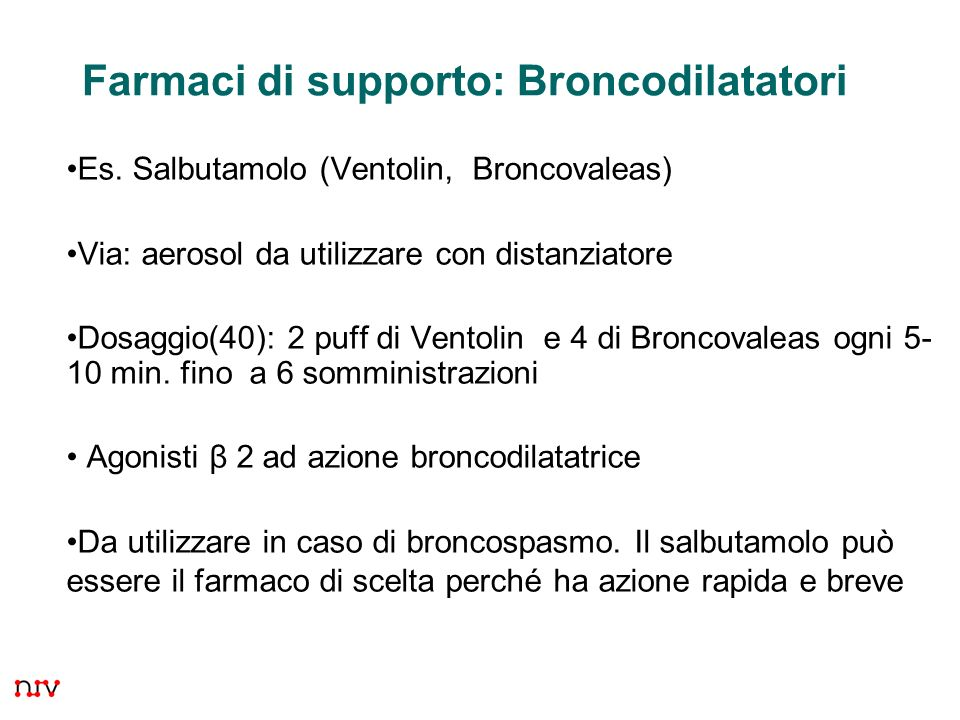 Farmaci di supporto: Broncodilatatori