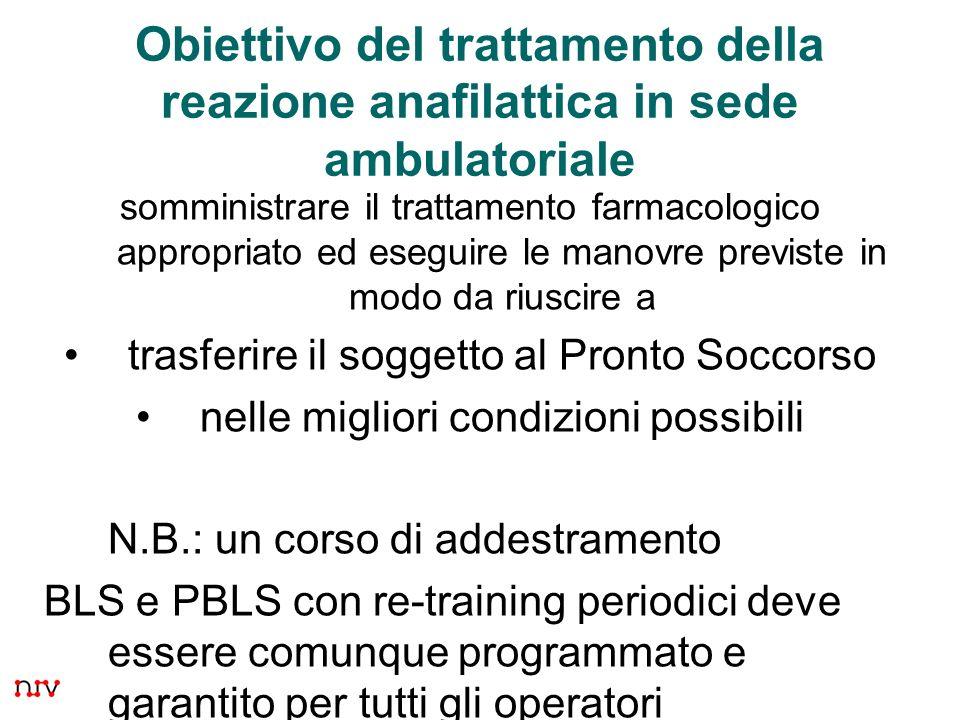 Obiettivo del trattamento della reazione anafilattica in sede ambulatoriale