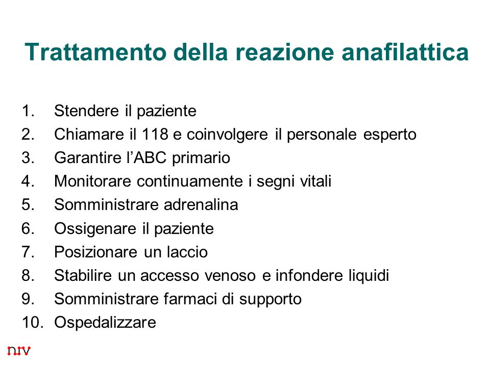 Trattamento della reazione anafilattica