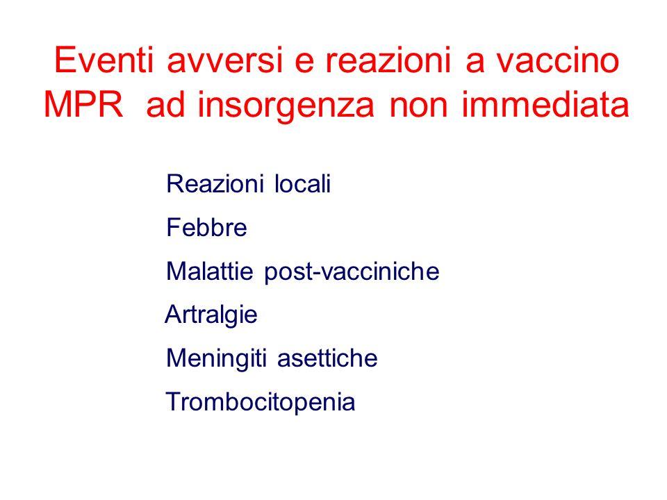 Eventi avversi e reazioni a vaccino MPR ad insorgenza non immediata