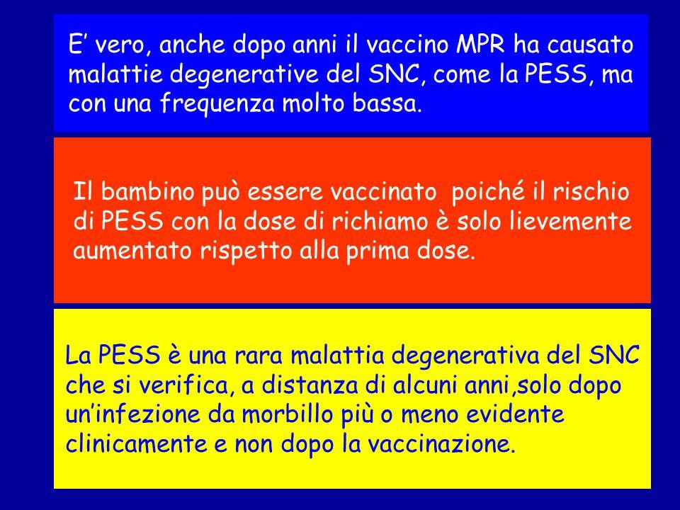 E' vero, anche dopo anni il vaccino MPR ha causato malattie degenerative del SNC, come la PESS, ma con una frequenza molto bassa.