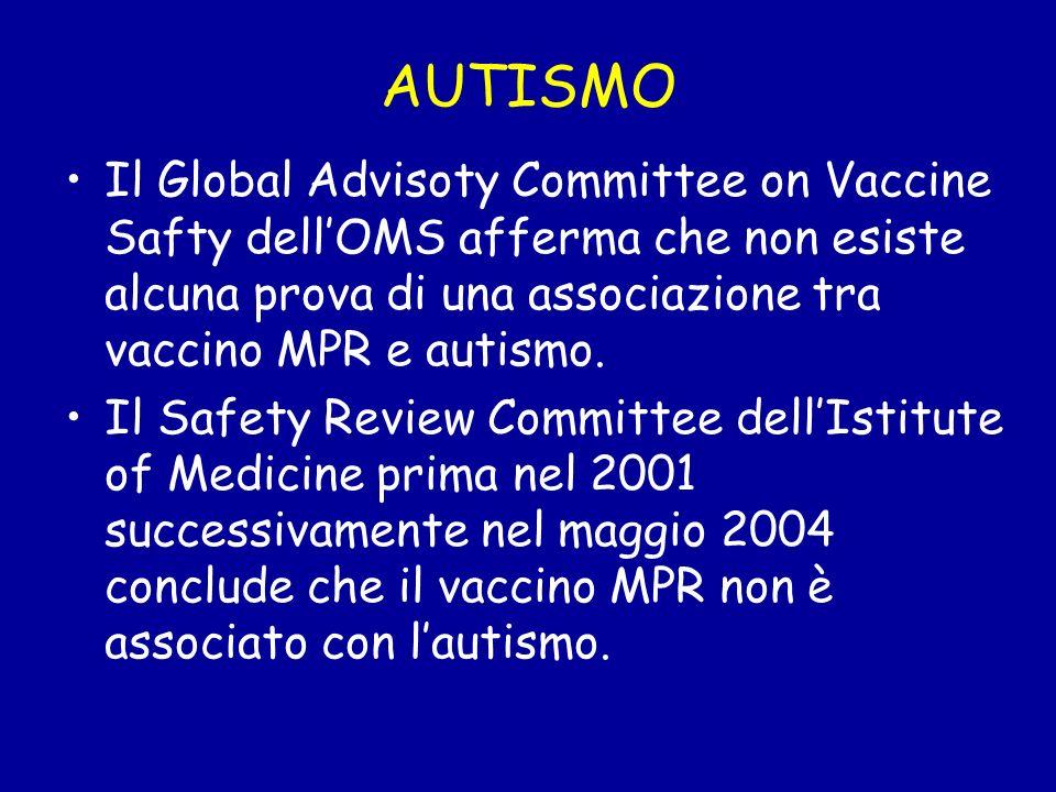 AUTISMO Il Global Advisoty Committee on Vaccine Safty dell'OMS afferma che non esiste alcuna prova di una associazione tra vaccino MPR e autismo.