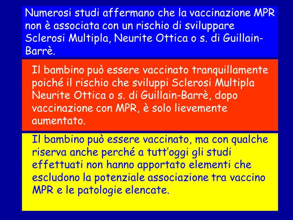 Numerosi studi affermano che la vaccinazione MPR non è associata con un rischio di sviluppare Sclerosi Multipla, Neurite Ottica o s. di Guillain-Barrè.