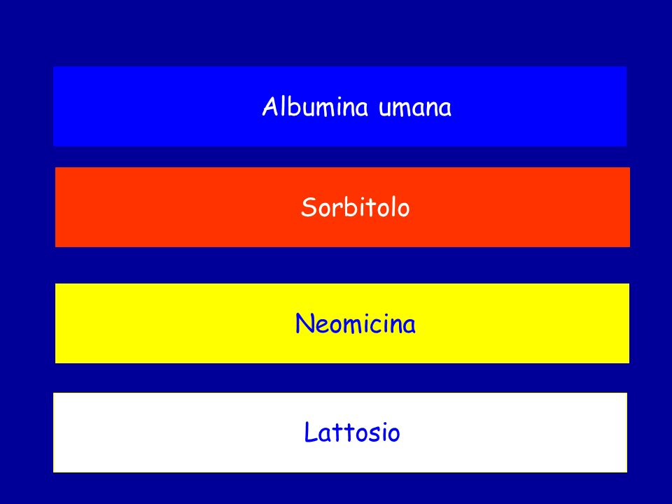 Albumina umana Sorbitolo Neomicina Lattosio