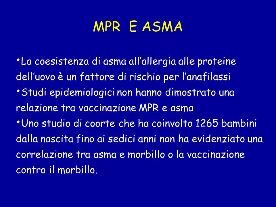 MPR E ASMA La coesistenza di asma all'allergia alle proteine dell'uovo è un fattore di rischio per l'anafilassi.
