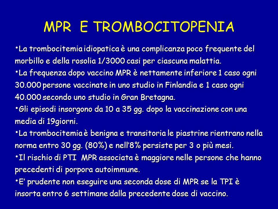 MPR E TROMBOCITOPENIA La trombocitemia idiopatica è una complicanza poco frequente del morbillo e della rosolia 1/3000 casi per ciascuna malattia.