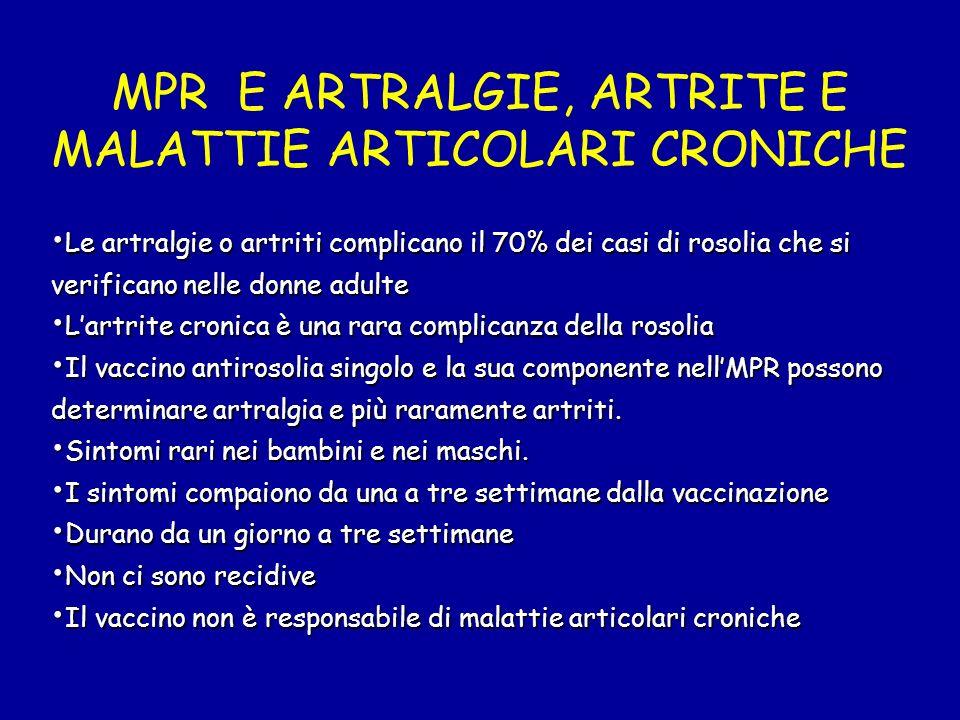 MPR E ARTRALGIE, ARTRITE E MALATTIE ARTICOLARI CRONICHE