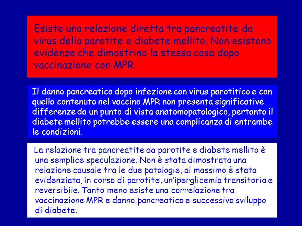 Esiste una relazione diretta tra pancreatite da virus della parotite e diabete mellito. Non esistono evidenze che dimostrino la stessa cosa dopo vaccinazione con MPR.
