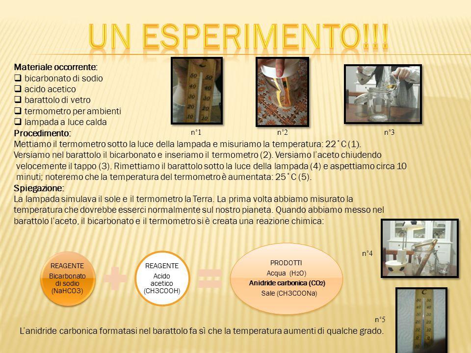 Un esperimento!!! Materiale occorrente: bicarbonato di sodio
