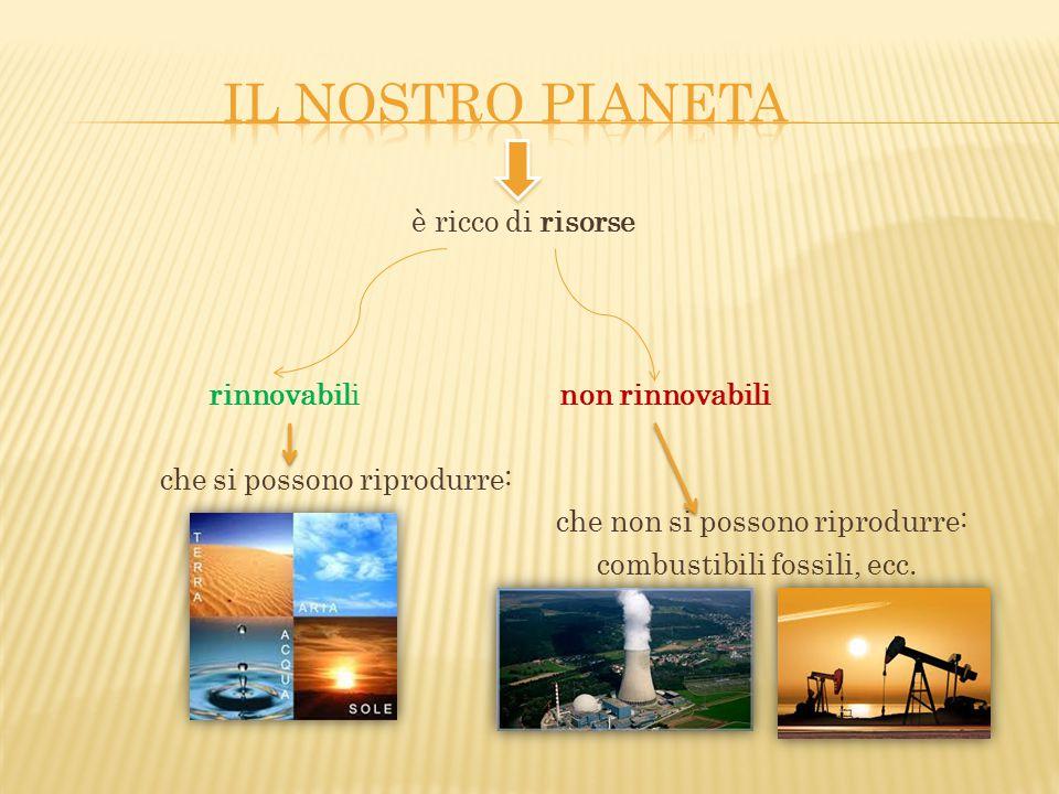 Il nostro pianeta è ricco di risorse rinnovabili non rinnovabili