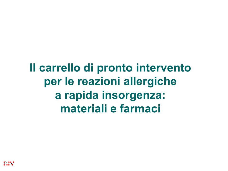 Presentazione 7Il carrello di pronto intervento per le reazioni allergiche a rapida insorgenza: materiali e farmaci.