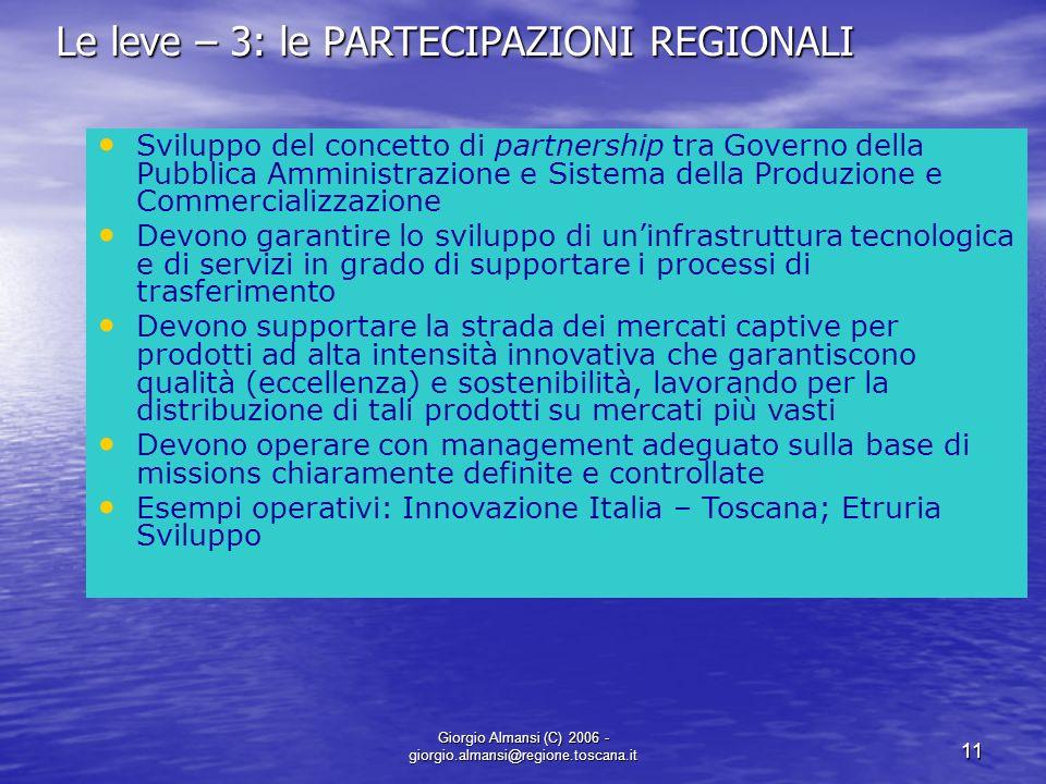 Le leve – 3: le PARTECIPAZIONI REGIONALI