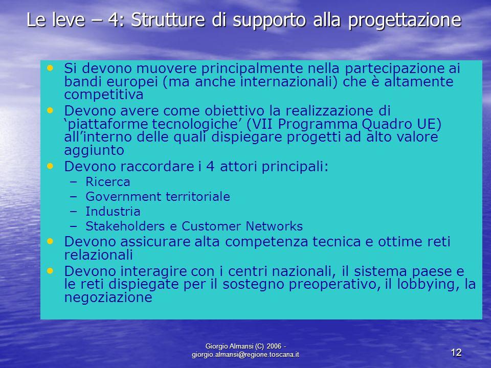 Le leve – 4: Strutture di supporto alla progettazione