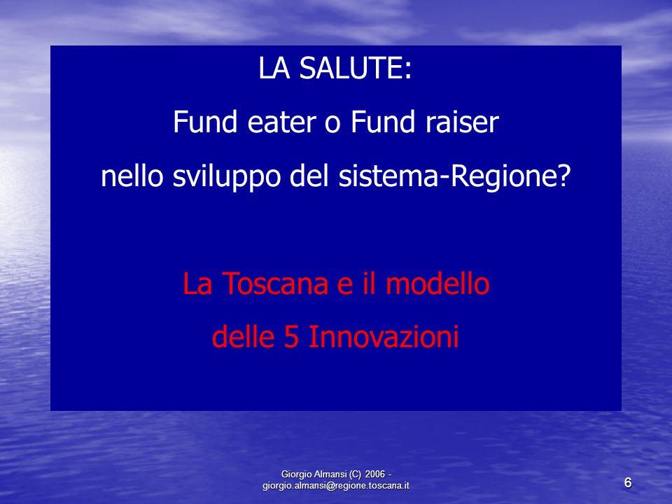 Fund eater o Fund raiser nello sviluppo del sistema-Regione