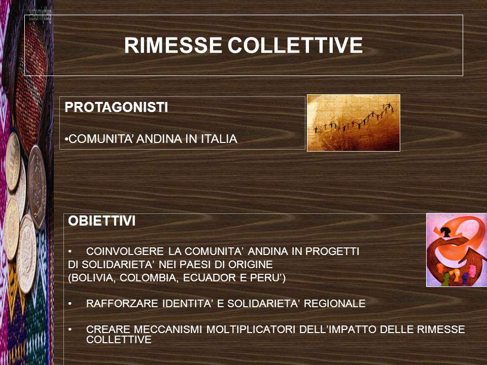 RIMESSE COLLETTIVE PROTAGONISTI OBIETTIVI COMUNITA' ANDINA IN ITALIA