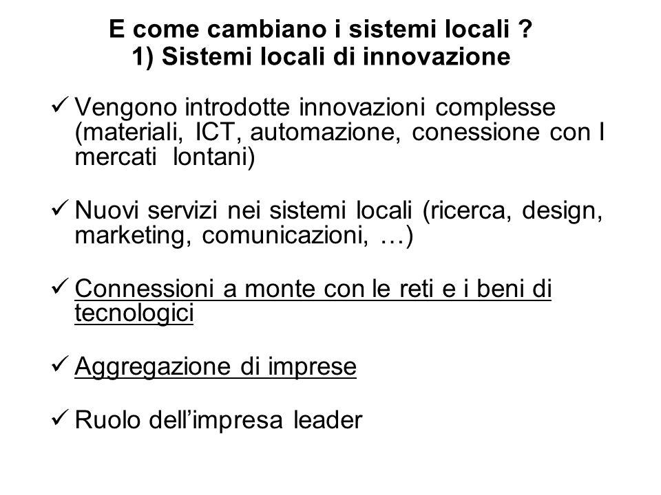 E come cambiano i sistemi locali 1) Sistemi locali di innovazione