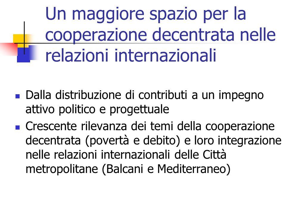 Un maggiore spazio per la cooperazione decentrata nelle relazioni internazionali