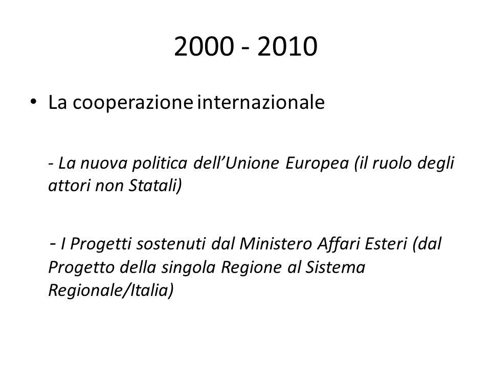 2000 - 2010 La cooperazione internazionale