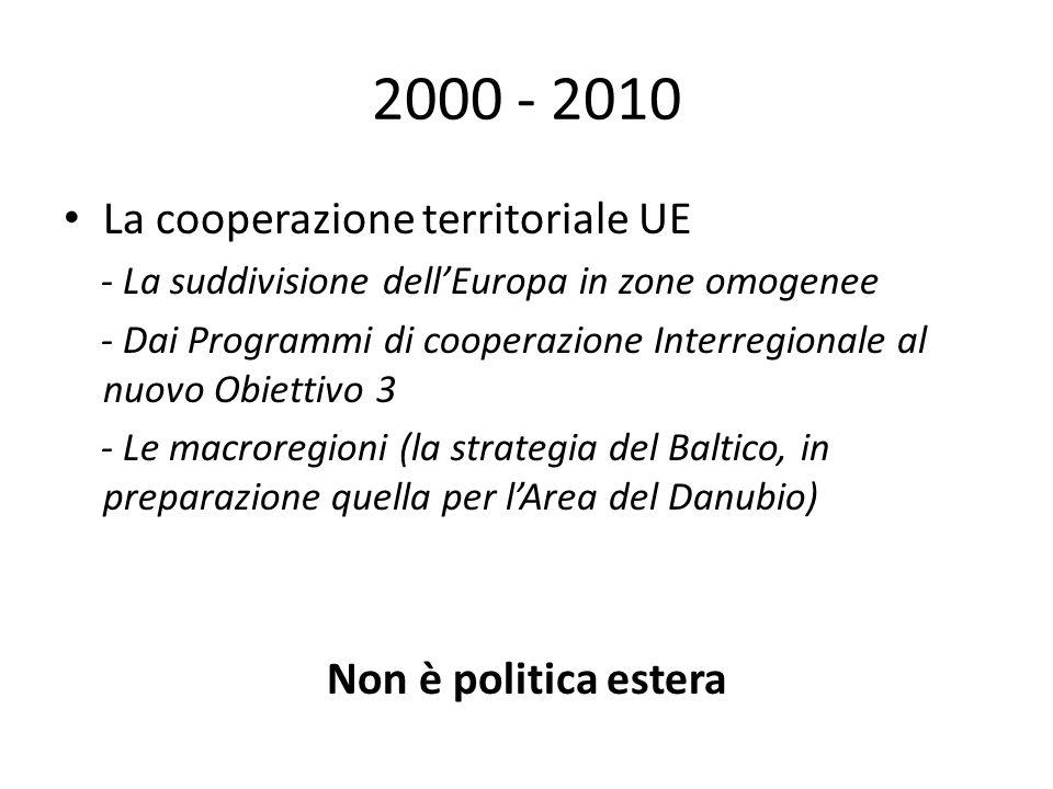 2000 - 2010 La cooperazione territoriale UE Non è politica estera