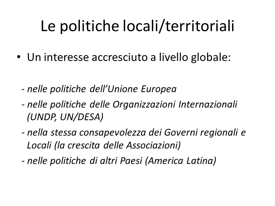Le politiche locali/territoriali