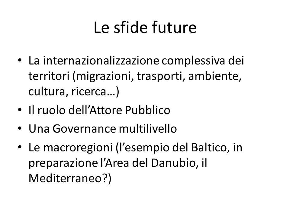 Le sfide future La internazionalizzazione complessiva dei territori (migrazioni, trasporti, ambiente, cultura, ricerca…)