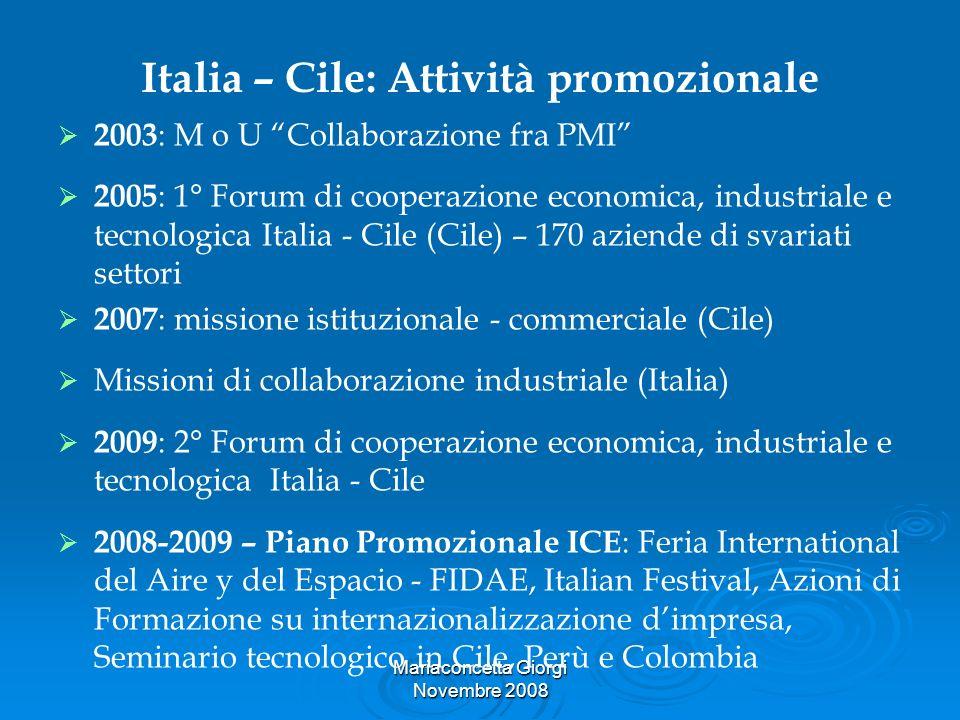 Italia – Cile: Attività promozionale