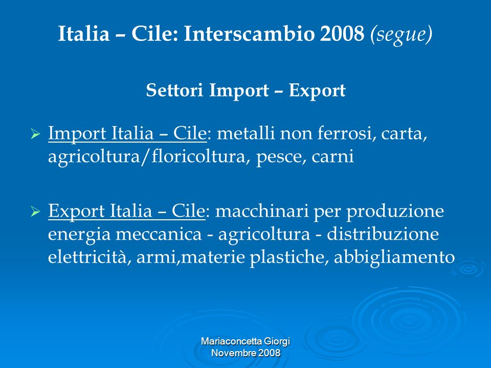 Italia – Cile: Interscambio 2008 (segue)