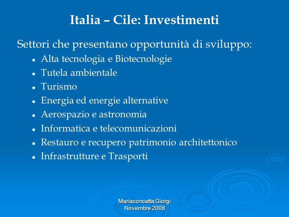 Italia – Cile: Investimenti