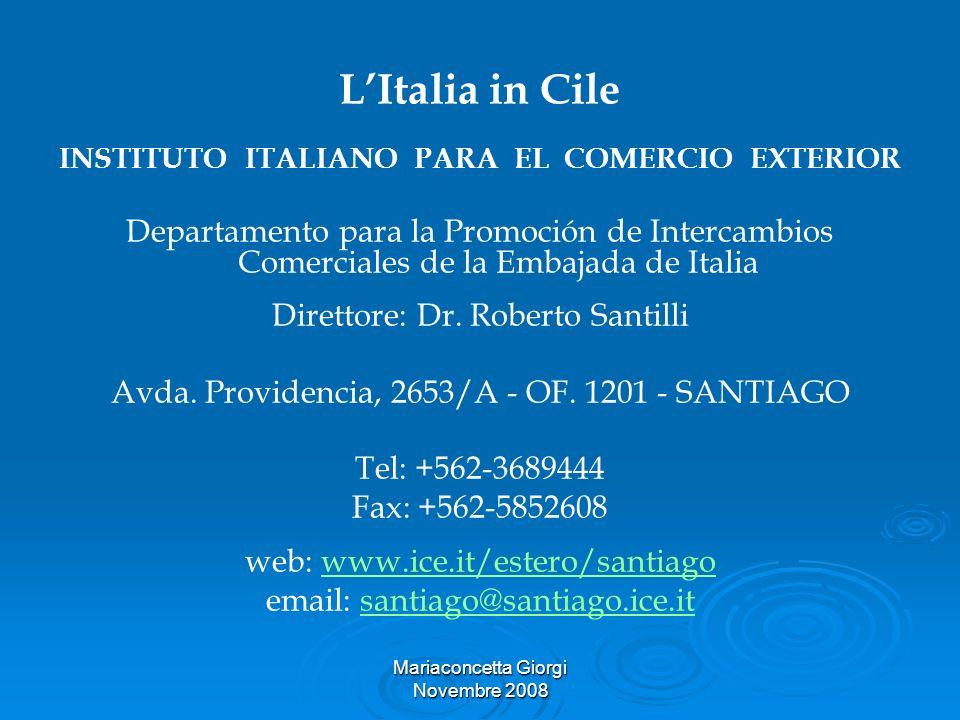 L'Italia in Cile INSTITUTO ITALIANO PARA EL COMERCIO EXTERIOR.