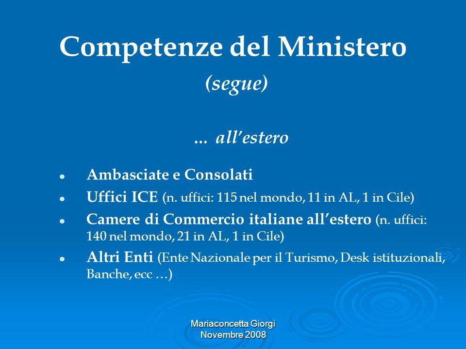 Competenze del Ministero (segue)
