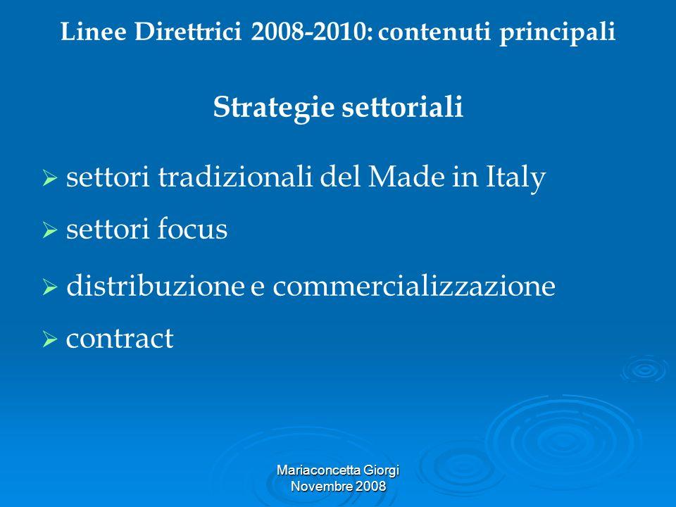 Linee Direttrici 2008-2010: contenuti principali