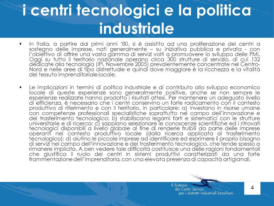 i centri tecnologici e la politica industriale