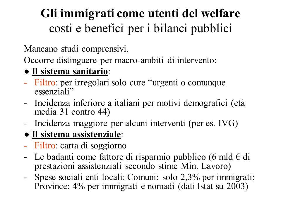 Gli immigrati come utenti del welfare costi e benefici per i bilanci pubblici