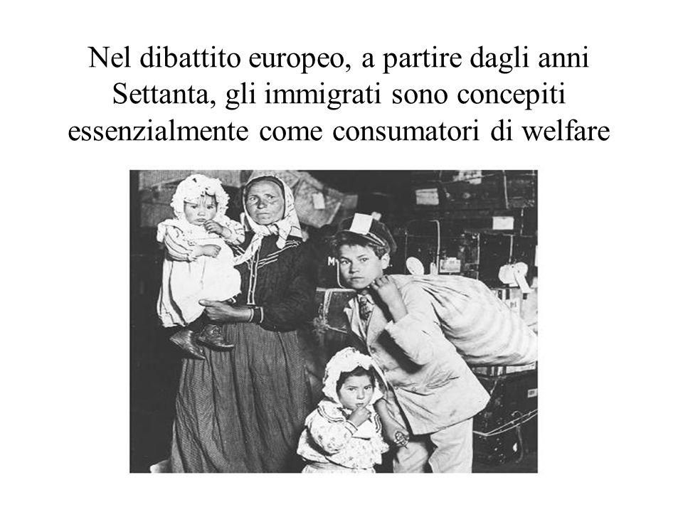 Nel dibattito europeo, a partire dagli anni Settanta, gli immigrati sono concepiti essenzialmente come consumatori di welfare