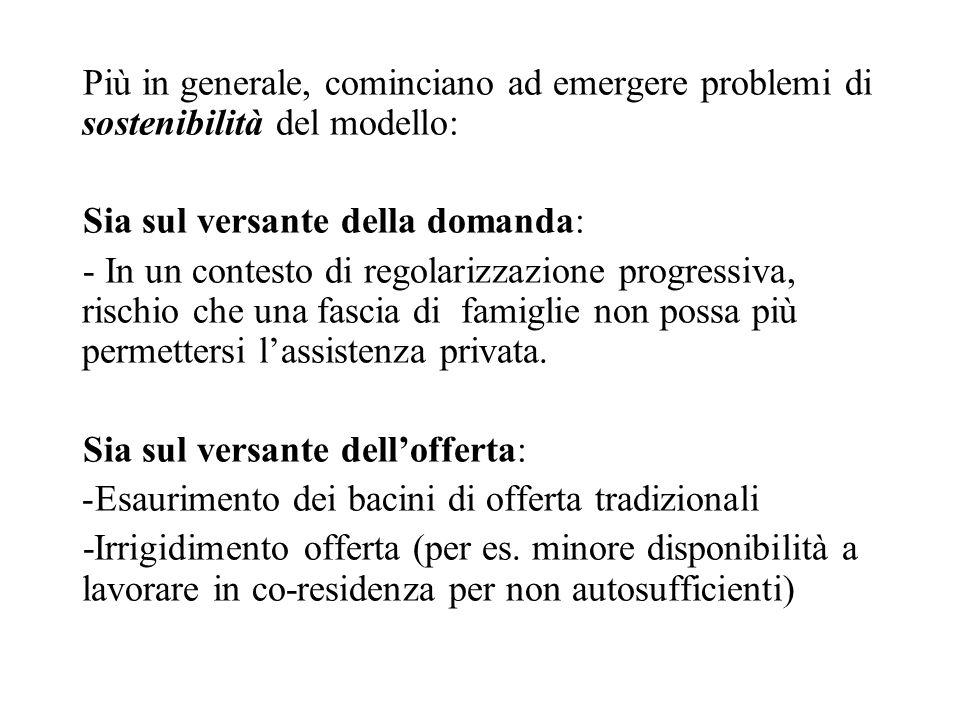 Più in generale, cominciano ad emergere problemi di sostenibilità del modello: