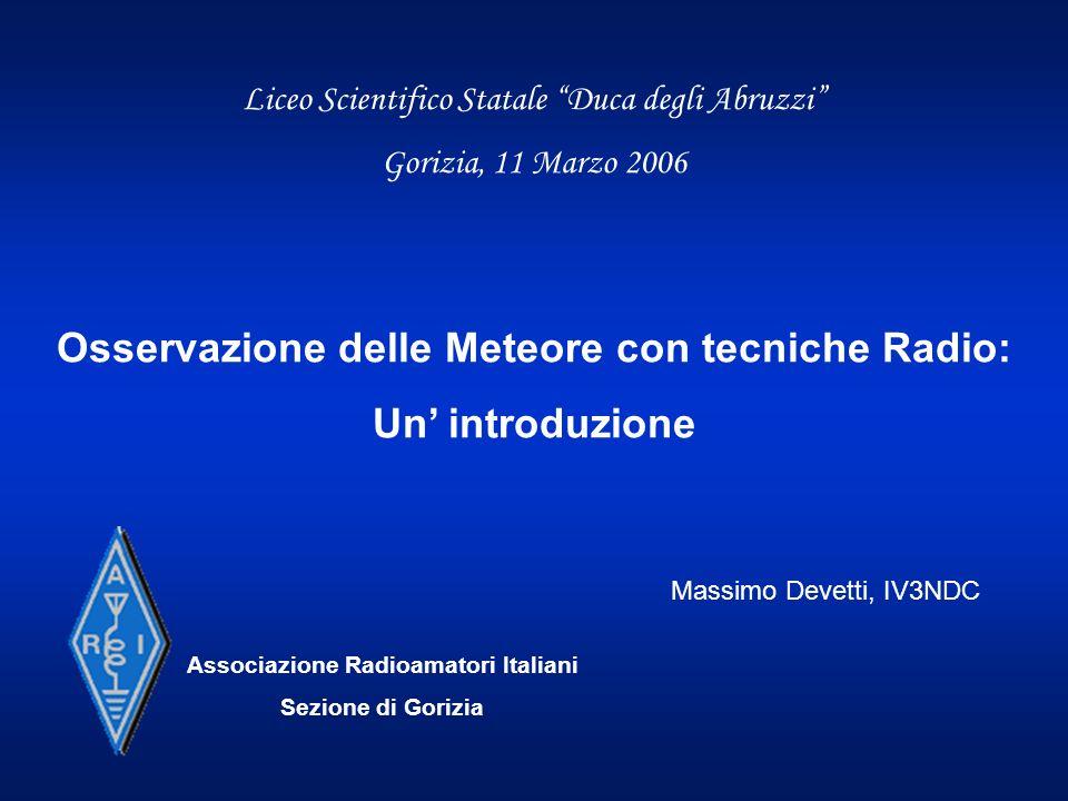 Osservazione delle Meteore con tecniche Radio: Un' introduzione