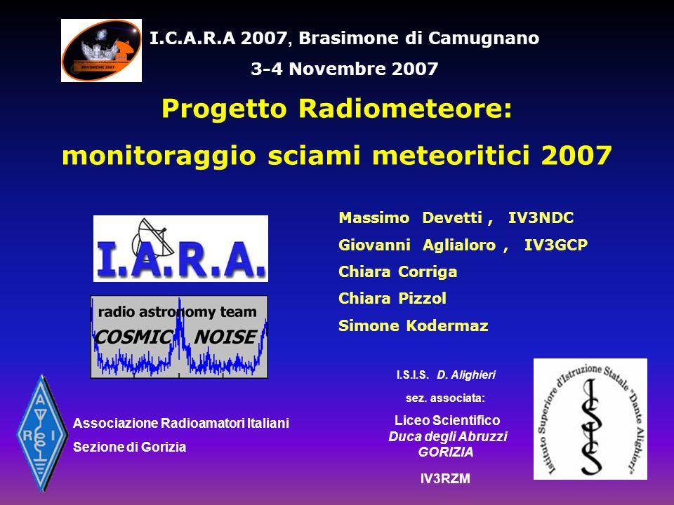 Progetto Radiometeore: monitoraggio sciami meteoritici 2007
