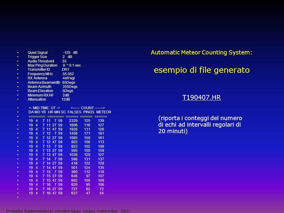 Automatic Meteor Counting System: esempio di file generato T190407.HR