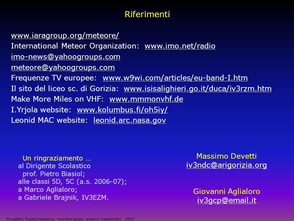 Riferimenti www.iaragroup.org/meteore/
