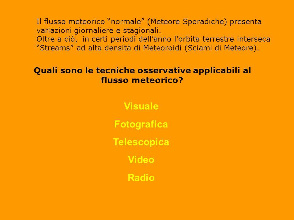 Quali sono le tecniche osservative applicabili al flusso meteorico