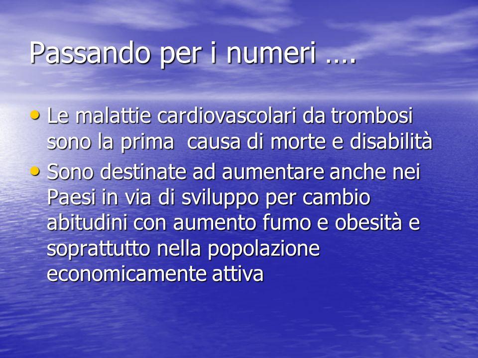 Passando per i numeri …. Le malattie cardiovascolari da trombosi sono la prima causa di morte e disabilità.